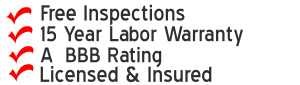 Free Roof Inspection, warranty,BBB Rating